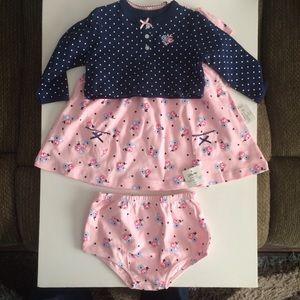 Little Me 3 Piece Knit Dress & Cardigan Set 9month